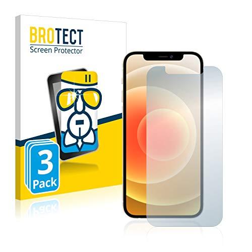 BROTECT Panzerglas Schutzfolie kompatibel mit Apple iPhone 12 Pro (3 Stück) - AirGlass, extrem Kratzfest, Anti-Fingerprint, Ultra-transparent