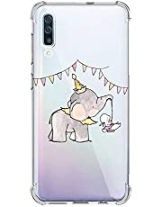 Oihxse Silicona Funda con Samsung Galaxy A50 TPU Flexible Suave Transparente Protector Estuche Airbag Esquinas Reforzadas Ultra-Delgado Elefante Patrón Anti-Choque Caso (D4)