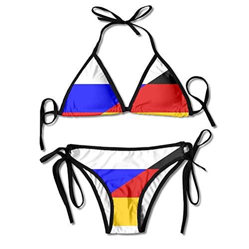 Women's Flag Germany Russia Two Piece Bikini Set Swimsuit Bathing Suit