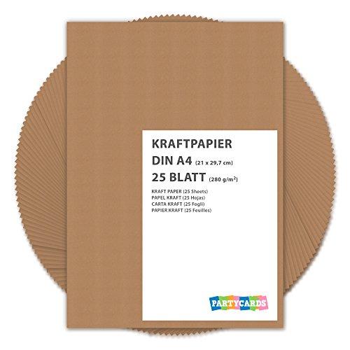 Partycards Kraftpapier braun 280 g/m² – Naturkarton in hochwertiger Qualität als Bastelpapier, Kartonpapier, Fotokarton, Hochzeitskarten (DIN A4, 25 Blatt)