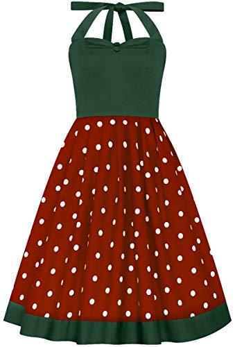 Dolly and Dotty Damen Kleid Sophia Polka Dot Punkte Dress Rot 2XL