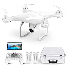 Potensic T25 Drone with 2K Camera for Adults, RC FPV GPS Drone with WiFi Live Video, Auto Return Home, Altitude Hold… 1 Seller ds-i is the authorized one! ! ! convenient and easy: with a aluminum silver carry case, you could bring it outdoor conveniently. Headless mode, altitude mode and one key to take-off/ land function make easier access to kids or beginners. Wider vision & fluent transmission: 1080P HD camera with 120° FOV and 75° adjustable wide angle helps to capture clearly photos and more stable videos. Wi-Fi camera provide you faster but clearer image transmission. Safer & more stable flight: equipped with dual gps+9-axis gyro space, drone will stand still in the wind and automatic return home when it is with low power or weak signal or lost.