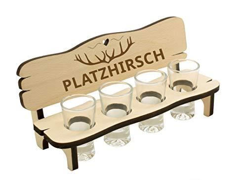 Spruchreif PREMIUM QUALITÄT 100% EMOTIONAL · Schnapsbank mit Gravur · Schnapsbank mit 4 Gläsern · Schnapsbank für Jäger · Schnapslatte mit Gläsern · Jägergeschenke · Schnaps Geschenke