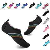 YALOX Water Shoes Women's Men's Outdoor Beach Swimming Aqua Socks Quick-Dry Barefoot Shoes Surfing Yoga Pool Exercise(XB/Black,38/39EU)