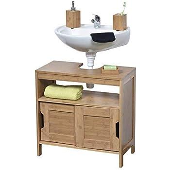 Relaxdays – Armario/Gabinete para el Cuarto de baño, Madera de Nogal, 61 x 66 x 29 cm, Mueble Resistente y Duradero, Color Natural: Amazon.es: Hogar