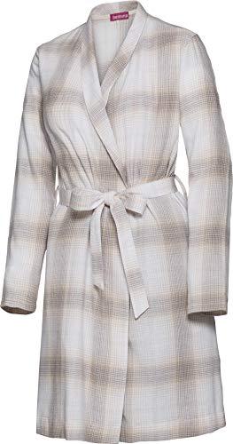 Belmina Damen Flanellmorgenmantel in Beige, kuschlig-weicher Morgenmantel im Karo-Design, aus Baumwolle, Knielang, Gr. 36-50