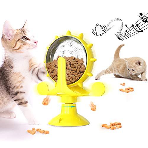 Windmühle Katzenspielzeug, Interaktives Katzenspielzeug, Katze undichtes Spielzeug, Katzenspielzeug-Karussell mit Glocke 360° drehbar, Interaktives Slow Feeder Spielzeug für Katzen/Hunde