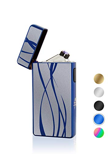TESLA Lighter T13 Lichtbogen Feuerzeug, Plasma Double-Arc, elektronisch wiederaufladbar, aufladbar mit Strom per USB, ohne Gas und Benzin, mit Ladekabel, in edler Geschenkverpackung, Blau Linien