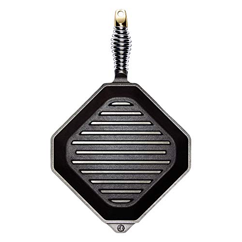 """FINEX – 10"""" Cast Iron Grill Pan, Modern Heirloom, Handcrafted in the USA, Pre-seasoned with Organic Flaxseed Oil"""