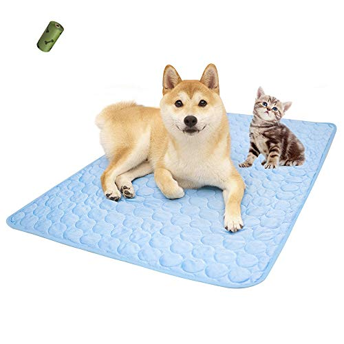 """Summer Cooling Mat & Sleeping Pad- Water Absorption Top, Waterproof Bottom, Materials Safe, Easy Carry, EZ Clean. Keep Cooling for Pets, Kids and Adults.(27""""x 22"""") L"""