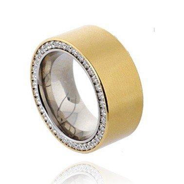 Schmuck/Ring/Edelstahl vergoldet/Zirkonia/Top Design/Kado