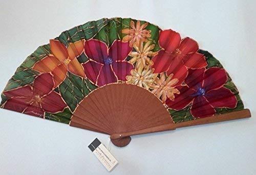 Abanico de seda natural pintado y montado a mano sobre varilla de...