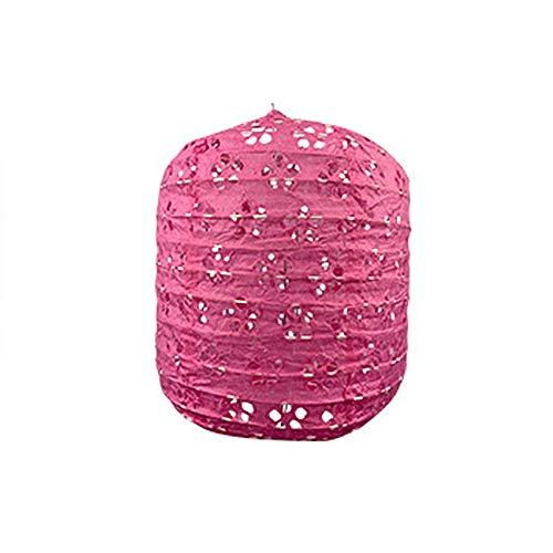 Farol de papel, 20 unidades, plegado, colorido, calado, para manualidades populares, invierno, melón, multicolor, opcional para fiestas de cumpleaños de jardín (color rosa, tamaño: M)