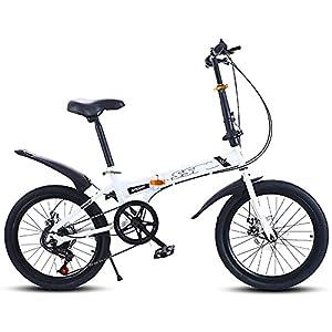 DODOBD Bici Pieghevole Unisex Adulto, Bicicletta Pieghevole 20 Pollici 7 Marce, Telaio in Acciaio ad Alto Tenore Carbonio Folding Bike Adatto per Donne Uomini e Adolescenti Bici da Citt