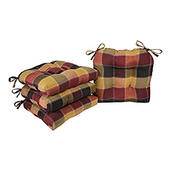 Arlee - Harris Plaid Chair Pad Seat Cushion Full-Length Ties for Non-Slip Support Durable Superior Comfort and Softness Reduces Pressure Washable 16 x 16 Inches  Red Set of 4   19-63188SPC