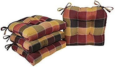 Arlee - Harris Plaid Chair Pad Seat Cushion, Full-Length Ties for Non-Slip Support, Durable, Superior Comfort and Softness, Reduces Pressure, Washable, 16 x 16 Inches (Red, Set of 4) (19-63188SPC)