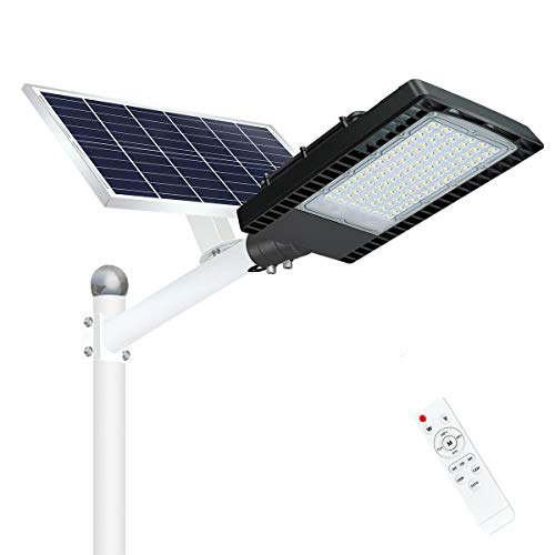 200W Solar Street Lights Outdoor, Dusk to Dawn Security Lights with Remote Control, Wireless, IP66 Waterproof, 6000K, LED Solar Flood Light for Road, Yard, Parking lot, Street, Garden and Garage