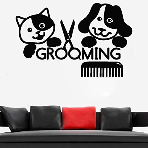 Animales Salón de belleza Pegatina Aseo Peluquero Vinilo Tatuajes de pared Gato Perro Animal Mural de pared Decoración de aseo de animales O247_ Como se muestra