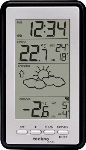 Technoline Wetterstation WS 9130 mit Vorhersage (schwarz-silber mit Batterien)