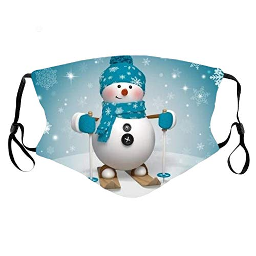 Adult Christmas Snowman Printing Face Cover,Unisex Men Women Reusable Outdoors Mouth Cover Cycling Dustpoof Party