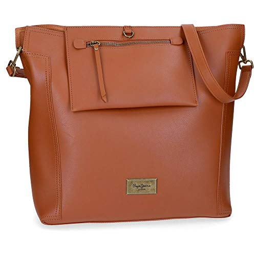 Pepe Jeans Angelica - Bolso para Mujer, Marrón, 35 cm