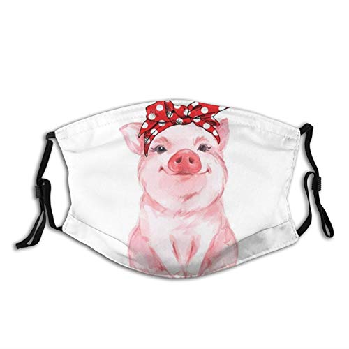 Piggy Cute Pig Cartoon Patterned Pink Face Mask With Filter Pocket Washable Face Bandanas Balaclava Reusable Fabric Mask For Men Women