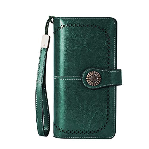 Large Capacity RFID Blocking Genuine Leather Wallets for Women with Wristlet Trifold Ladies Billfold with Zipper by UMODE