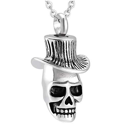 Wxcvz Joyas De Cremación Cremación Cráneo Acero Inoxidable Memorial Urna Collar Joyas Recuerdo De Los Hombres Titular De Cenizas Urna Colgante Funeral