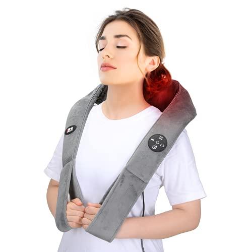 Doact Masseur Cervical Shiatsu avec Chauffant et Timing Fonction, Massage Cervicales et Cou avec 8 Têtes de Massage Pétrissage, Appareil Massage Dos et Nuque Épaule pour Soulagement de la Douleur