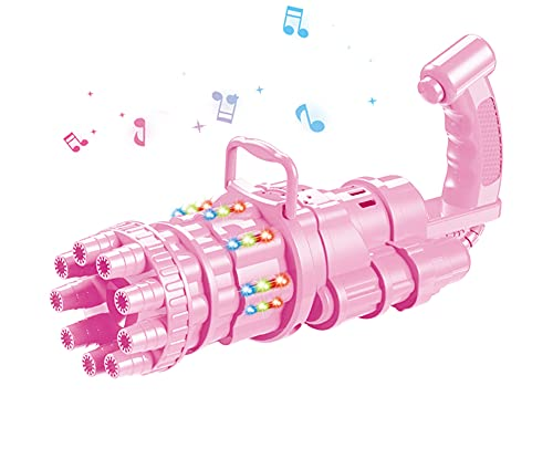 Kiguoa Bubble Machine 2021 Gatling Rainbow Bubble Gun with LED Light and Music Bubble Machine for Kids 9-Hole Super Capacity Bubbles for Kids Gift Boys and Girls Outdoor Toy Bubble Machine in Summer
