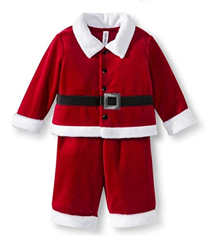 Santa Clause 2 Piece Baby Boys Outfit Set (Newborn) Red