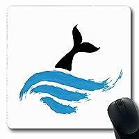 快適滑り止めマウスパッド長方形のシロナガスクジラ水白動物野生動物自然動物抽象イルカエンブレム釣りフィッシュテール滑り止めラバー快適滑り止めマウスパッドオフィスコンピューターラップトップゲームマット