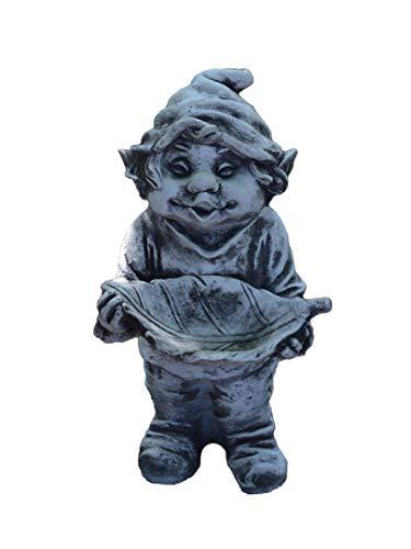 gartendekoparadies.de Massive Steinfigur lustiger Gnom schaut her was ich hab Troll Wichtel aus Steinguss, frostfest