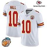 YWEIWEI NFL Kansas City Chiefs # 10 Tyreek Hill Fan Jersey Broderie Courte SleeveSport T-Shirt Américain Sweat-Shirt De Football White-XL