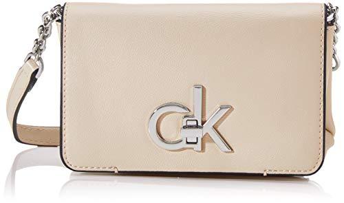 Calvin Klein - Re-lock Flap Crossbody Sm, Bolsos maletín Mujer, Rosa (Light Sand), 1x1x1 cm (W x H L)