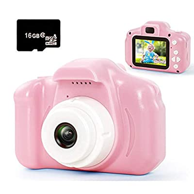 hyleton Digital Camera for Kids, 1080P FHD Kids Digital Video Camera Camcorder for 3-10 Years Girls Gift with 16GB SD Card & 2 Inch IPS Screen (Pink)
