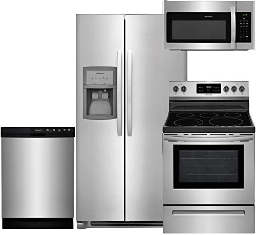 """Frigidaire 4-Piece Stainless Steel Package, FFSS2625TS 36"""" Side-by-Side Refrigerator, FFGF3054TS 30"""" Gas Range, FFID2426TS 24"""" Fully Integrated Dishwasher, FFMV1645TS 30"""" Over-the-Range Microwave"""