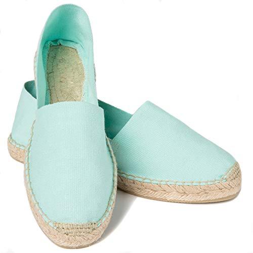 ESPADELLE Klassische Damen Slip-on Espadrilles aus Baumwolle mit Schuhbeutel, Mint, 37, Handmade in Spain