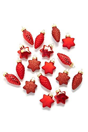 HEITMANN DECO - Adornos para árbol de Navidad (Cristal, 17 Unidades), diseño de Estrellas y piñas, Color Rojo