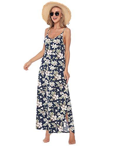 Aibrou Vestidos Mujer Algodón Verano,Vestidos de Playa sin Mangas Falda Largo Sexy Elegante y Comodo Dress para Playa Casual Caminar Diario Compras