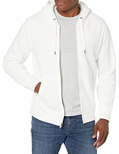 Amazon Essentials Men's Full-Zip Hooded Fleece Sweatshirt, Off Off White, Large