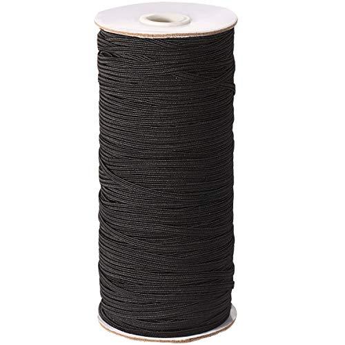 Braided Elastic Bands Elastic Rope Elastic Cord Bungee Heavy Stretch Knit Elastic Strap for Sewing Crafts DIY, Bedspread, Cuff, Elastic Face Covering Strap (Black, 200 Yard, 1/8 Inch)