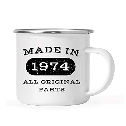 Andaz Press 11oz. Stainless Steel Birthday Campfire Coffee Mug Gift, Made in 1974 All Original Parts, 1-Pack, 42nd, 43rd, 44th, 45th Birthday, Anniversary Camping Drinking Cup
