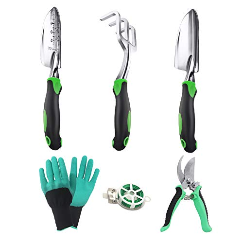 EAPFCT Garden Tool Set Aluminum Heavy Duty Gardening Kit Hand Trowel Transplant Trowel and Cultivator Hand Rake with Soft Rubberized Non-Slip Ergonomic Handle Garden Gifts 6 Pack