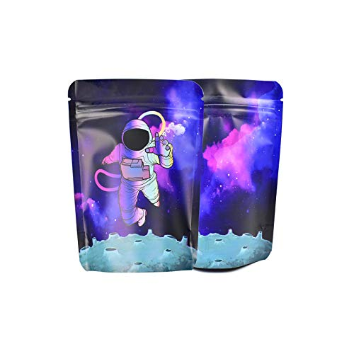 100 Stück geruchsdichte Mylar-Beutel, 3,5 g bedrucktes Design, aufstellbare Verpackungstasche, wiederverschließbarer Zip-Lock-Folie, Lebensmittelaufbewahrung, sicheres Material, 9,1 x 12,7 cm, lila