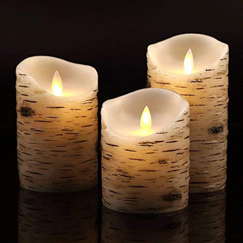 DFZ Flameless Candles Flickering Candles Birch Bark Set of 4 5' 6' Battery Candles Real Wax Pillar with Remote Timer