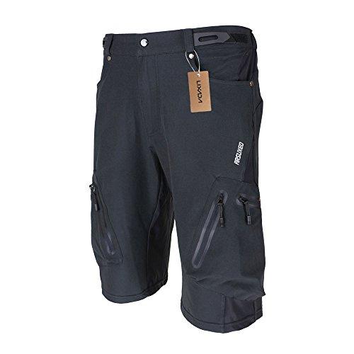 Lixada Shorts de vélo pour hommes, shorts légers respirants pour VTT et shorts amples pour VTT pour le vélo en plein air,noir+bleu,XL(CN)=L(EU)