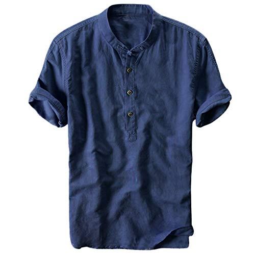 Fannyfuny Basic Polokragen Hemd Herren Poloshirt Kurzarm Tee Sommer T-Shirt Men's Polo Shirt Männer Revers Atmungsaktiv Quick-Dry Baumwolle und Leinen Kurzarm T-Shirt Tops Oberteil Lose Bequem M-XXXL