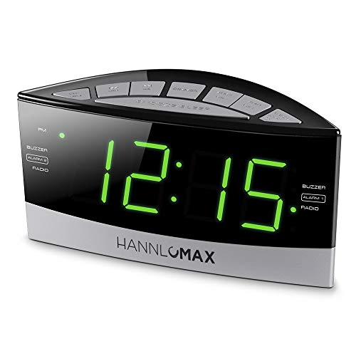 HANNLOMAX HX-100 Dual Alarm Clock, AM/FM Radio, Green LED 1.8 Inches Jumbo Display, Aux-in, Sleep & Snooze Function, Dimmer Control, AC Operation only