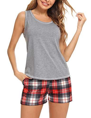 Akalnny Pijamas Mujer Corto Verano Ropa de Dotmir sin Mangas Conjunto de Pijama con Cintura Elástica a Cuadros Estar por Casa Loungewear